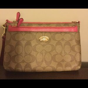 Coach small leather bag with cosmetic bag